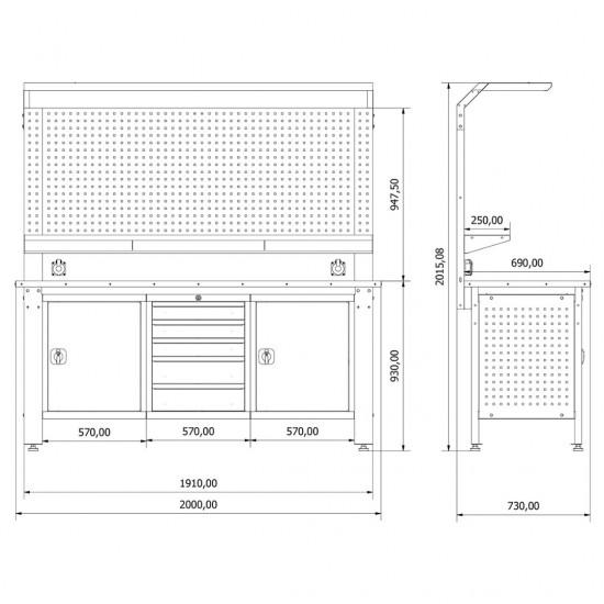 Metal Takım ve Çalışma Masası KRM.36.15.37
