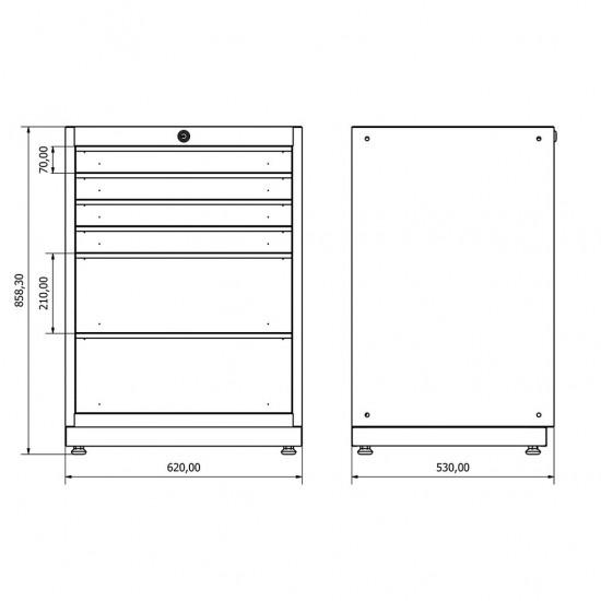 KRM 36.18.30.03 Çekmeceli Dolap (x4) , çekmeceli. çekmeceli dolap , modüler , takım tezgahı , tezgah