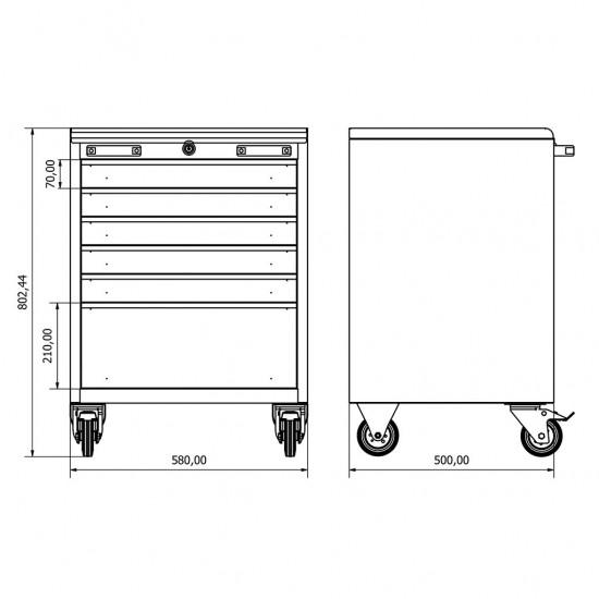 36.18.50.05 Takım Arabası (x6) , çekmeceli. çekmeceli dolap , modüler , takım tezgahı , tezgah , dolap , modül