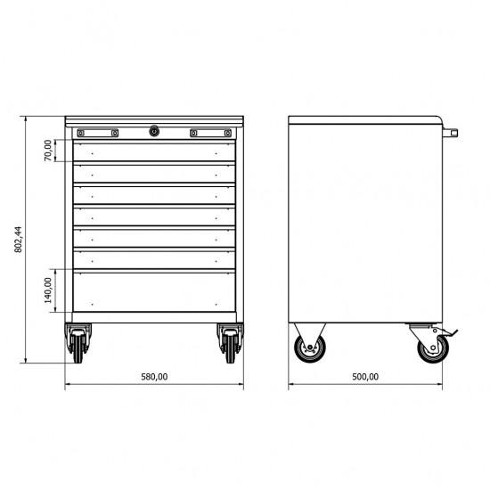 36.18.50.06 Takım Arabası (x7) , çekmeceli. çekmeceli dolap , modüler , takım tezgahı , tezgah , dolap , modül